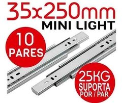 Kit 10 Pares Trilho Telescópico Mini Light 25cm - 35x250mm