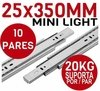 Kit 10 Pares Trilho Telescópico Mini Light 35cm - 25x350mm