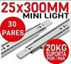 Kit 30 Pares Trilho Telescópico Mini Light 30cm - 25x300mm