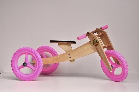 Bicicleta de Madeira Woodbike Camará Movelaria - Cor Rosa