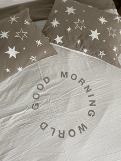 Funda de Edredón Good Morning Blanco y Gris - Queen - comprar online
