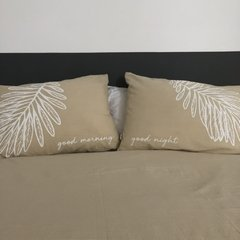 Fundas Almohada Good Morning - Good Night Beige