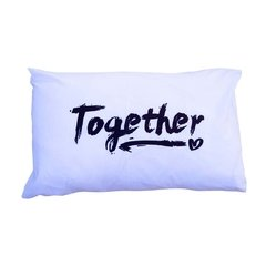 Fundas Almohada Blanco Better Together Negro - OUTLET - comprar online