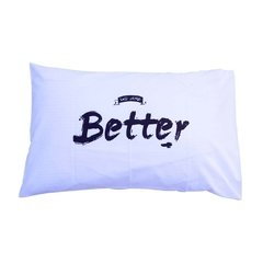 Fundas Almohada Blanco Better Together Negro - OUTLET