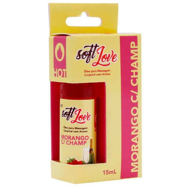GEL AROMATIZANTE HOT MORANGO COM CHAMPAGNE 15ML - SOFT LOVE