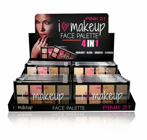 PINK 21 MAKEUP FACE PALETTE 4 IN 1 CS1446
