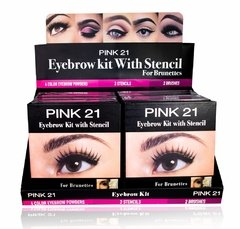 PINK 21 EYEBROW KIT WITH STENCIL FOR BRUNETTES CS1474