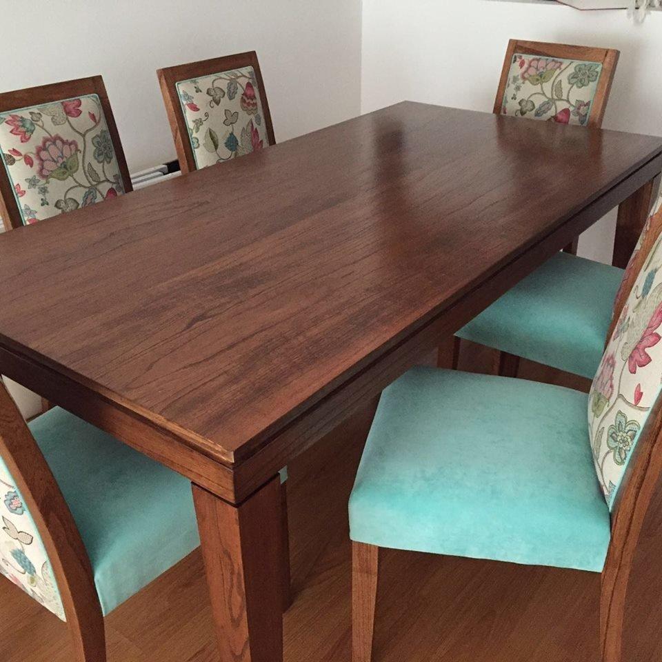 Juego de Comedor p/6 personas. Mesa Wood + 6 sillas Regina o Moloka.