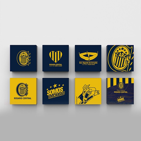 Cuadritos decorativos Rosario Central 15 cm x 15 cm en internet