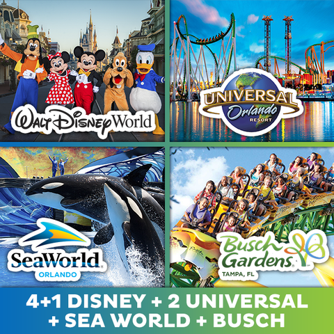 Ingresso COMBO Disney 4+1 Free + Universal 2 dias + Sea World + Busch Gardens