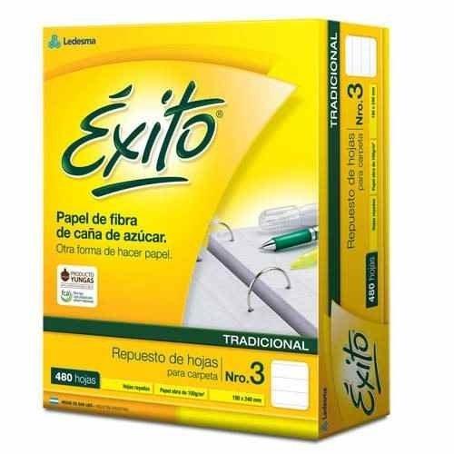 Repuesto Exito Escolar Nº3 Rayado 480 Hojas