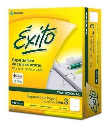 3 Repuestos Exito Escolar Nº3 Rayado 480 Hojas