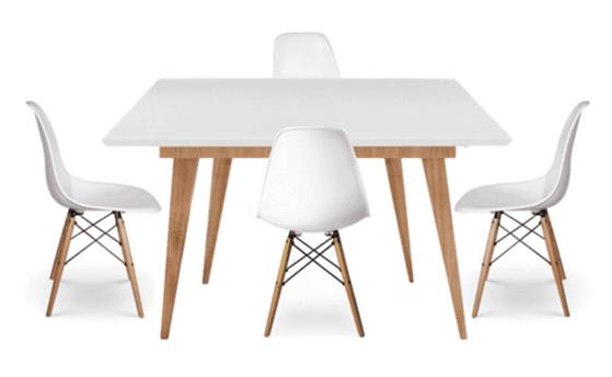 juego comedor mesa rectangular blanca x sillas