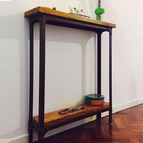 Mesa de arrime recibidor industrial hierro y madera - Mesa de recibidor ...