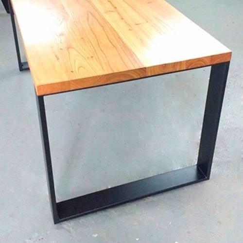 Mesa rectangular de madera y patas de hierro pulidos premium - Mesas madera y hierro ...