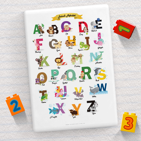 Cuadro  Rectangular ABC Animal en Ingles - comprar online