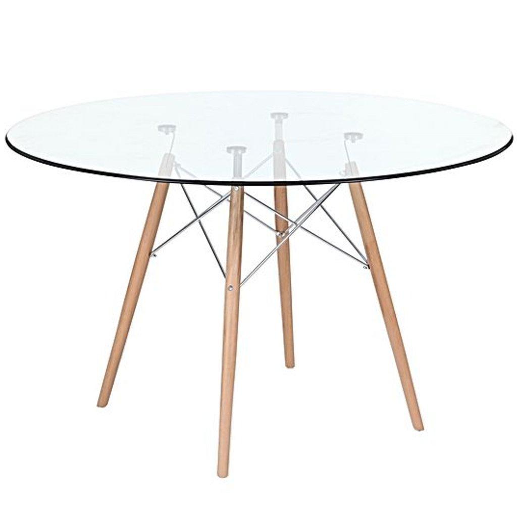 mesa eames cristal patas de madera