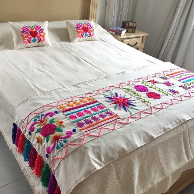 Pie de cama bordado a mano t - Pie de cama ...