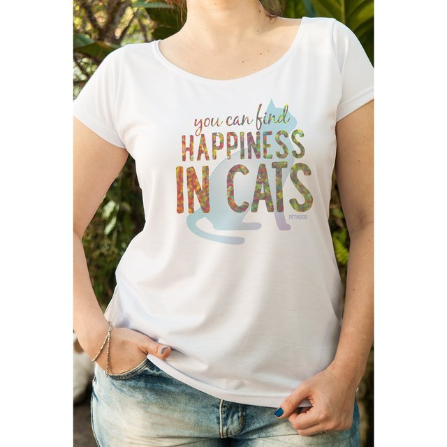 T-Shirt Feminina You Can Find Happiness - Cat
