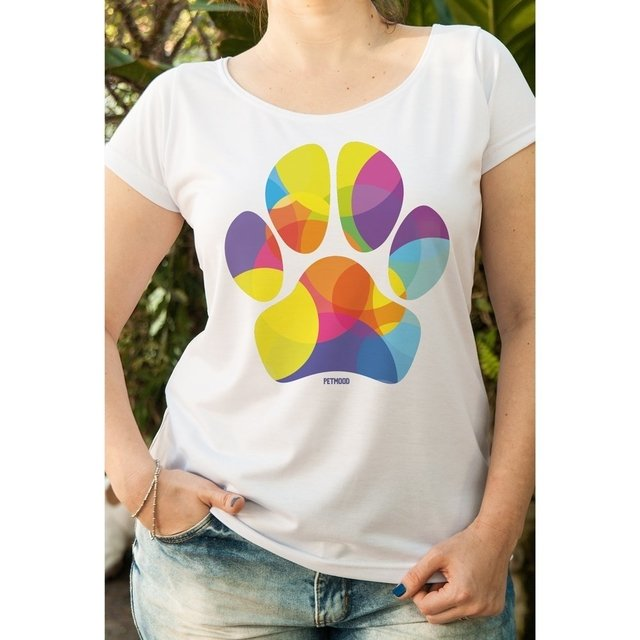 T-Shirt Feminina Pata Colorida