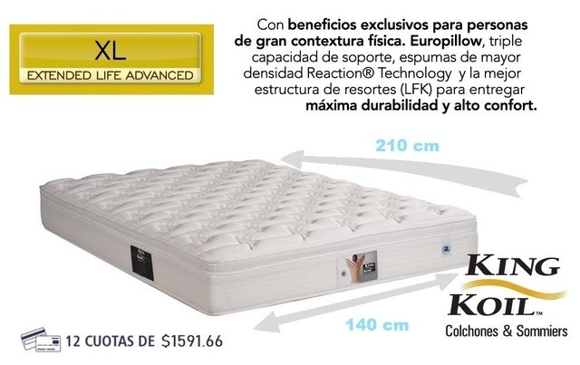 Colchon King Koil XL Advanced 140x210 + SOMMIER JACKARD 7 PATAS