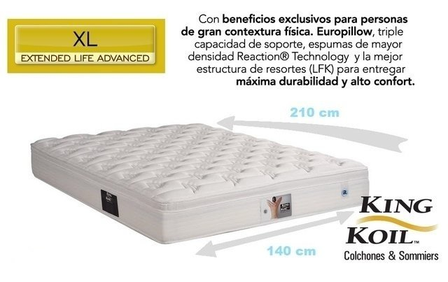 Colchon King Koil XL Advanced 140x210 - comprar online