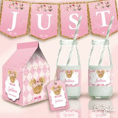 Kit Imprimible Minnie Rosa y Gold Dorado - comprar online