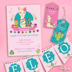 Kit Imprimible Llamita Altiplano. Personalizable