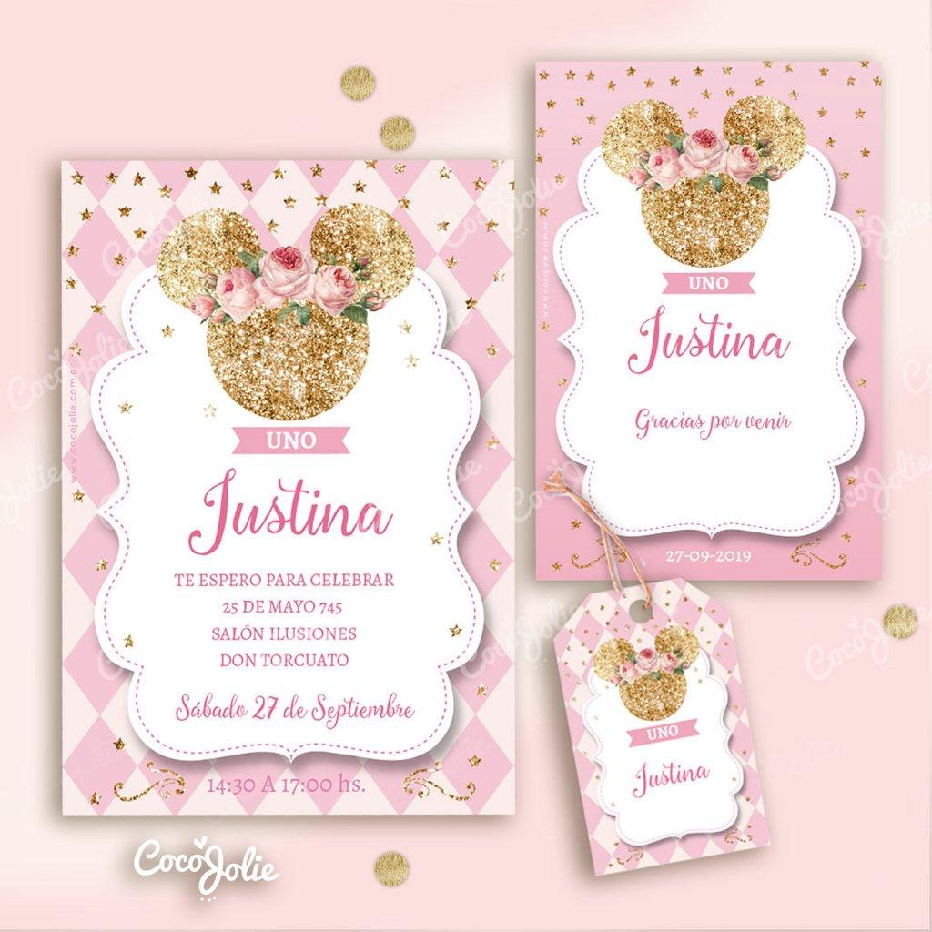 Tarjetas Invitaciones Minnie Lila Y Glitter Dorado Sae7037aa