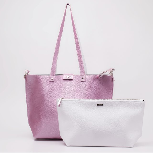 Bolso Twins Rosa Metal & Natural REVERSIBLE