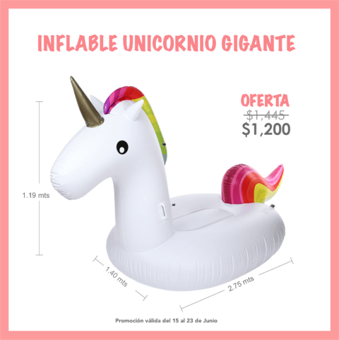 UNICORNIO INFLABLE 2.75 MTS