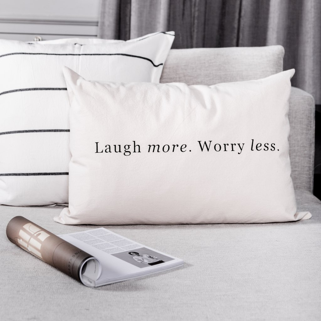 Almohadon 70x50 Laugh More. Worry Less
