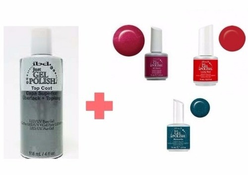 Kit Esmalte Ibd Top Coat De118ml Mas Tres Colores A Eleccion