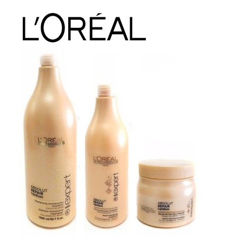 Combo Loreal Absolut Repair shampoo 1500 ml + acondicionador 750ml + mascara 500 ml