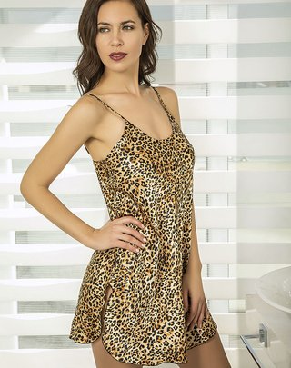 Art.18706. Camisola de Raso Animal Print- BIANCA SECRETA
