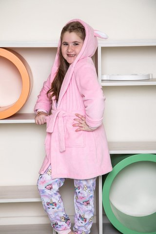 Art. B20221-    Bata coral fleece nena bordada Rabbit  -BIANCA SECRETA