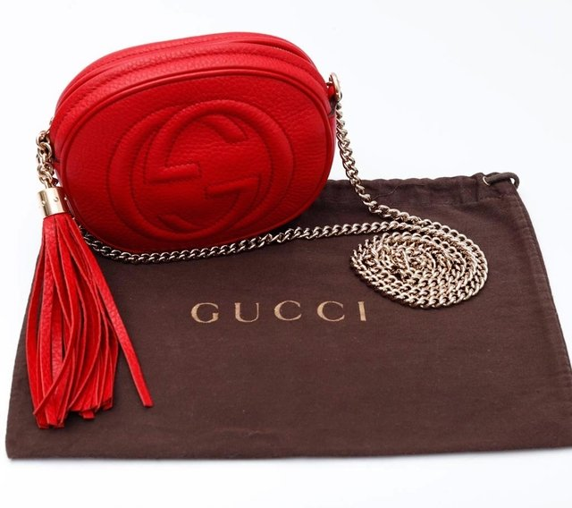 Bolsa Gucci Mini Soho Chain Crossbody Vermelha na internet