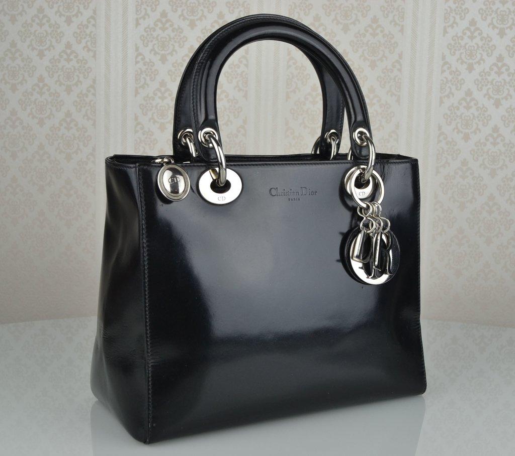 8ea2e1f3d64 ... Bolsa Lady Dior Veau Glacé Noir Vintage - comprar online ...