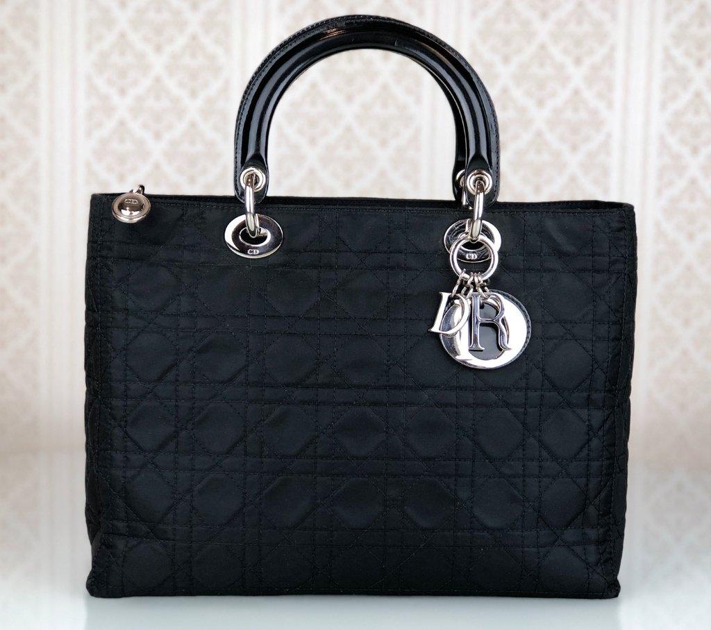 e6136c672 Bolsa Lady Dior Nylon Grande