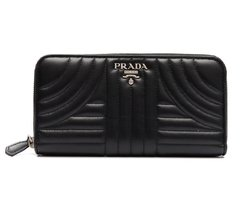 Carteira Prada Soft Calfskin Diagramme Zip Wallet Nero