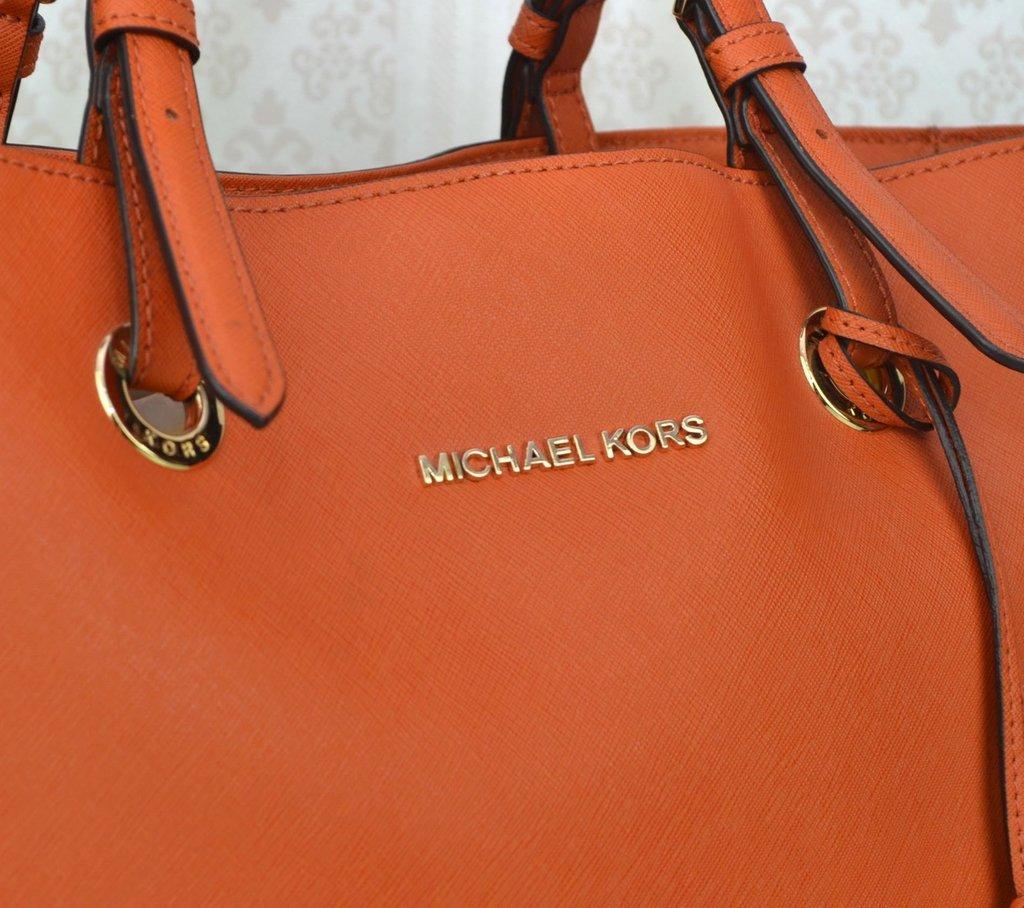 c493b56a6 ... Bolsa Michael Kors Couro Laranja Shopping Tote - Paris Brechó - Artigos  de Luxo Seminovos ...