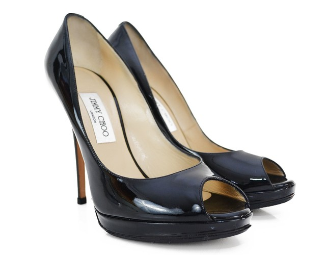 Sapato Jimmy Choo Luna Peep-Toe Pumps na internet