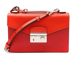 Prada Bicolor Saffiano Small Sound Crossbody Bag, Red/Orange