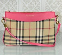 Bolsa Burberry Horseferry Check Canvas Peyton Crossbody Coral