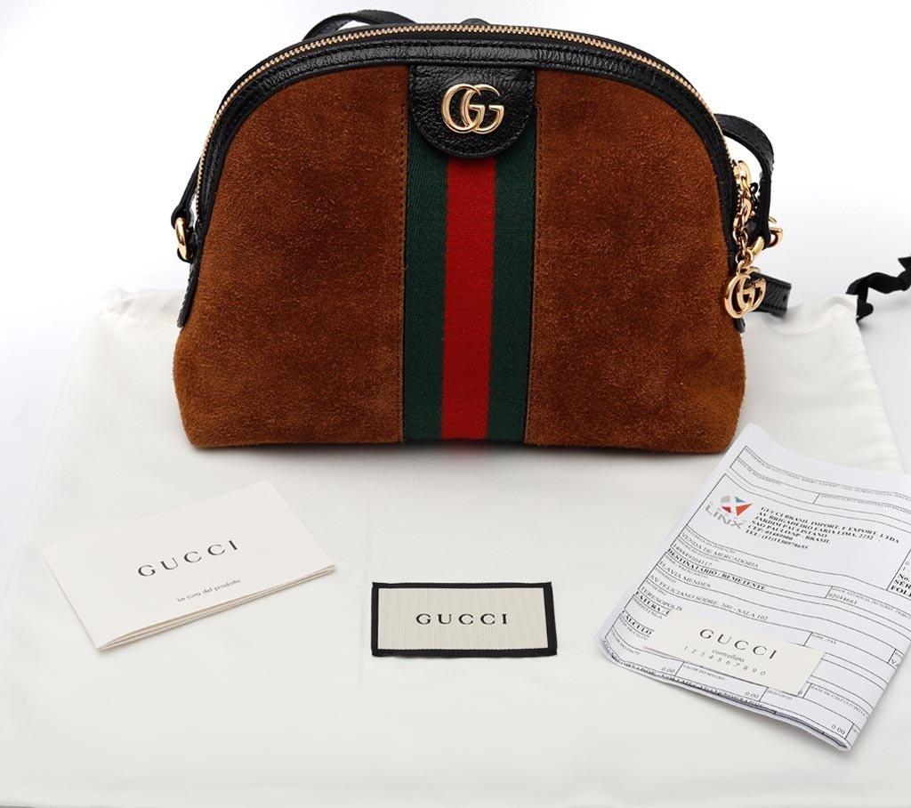 4e73b77f7 Bolsa Gucci Ophidia Suede Marrom Pequena na internet ...