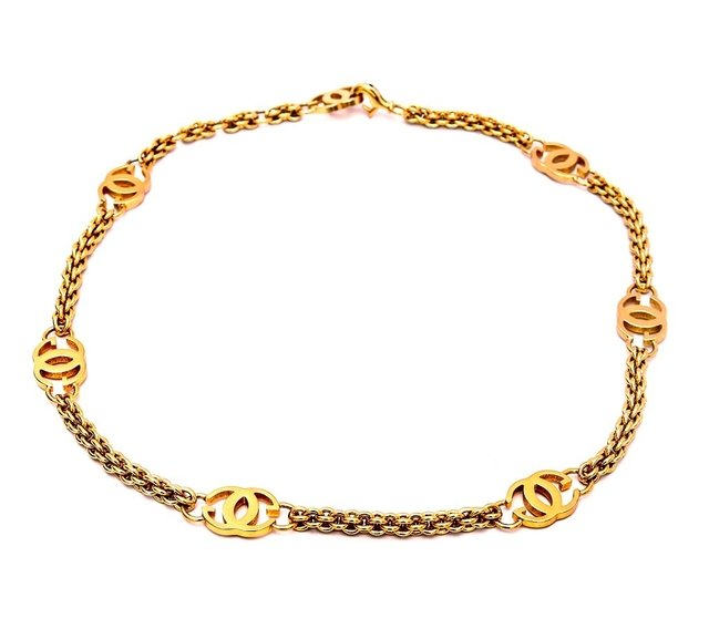 Cinto Gucci Vintage Gold Logo Chain Link