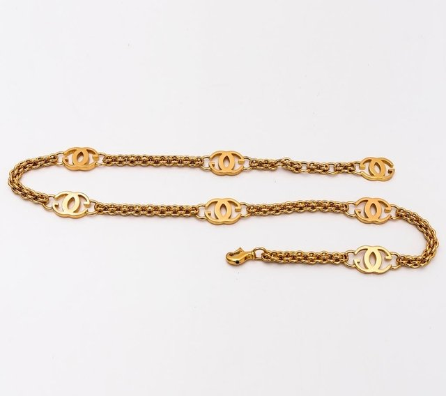 Cinto Gucci Vintage Gold Logo Chain Link - loja online