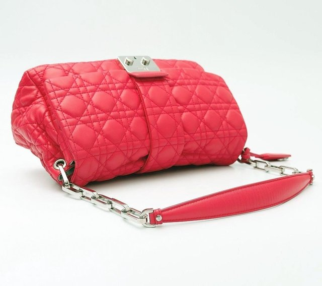Christian Dior Pink Cannage Quilted Lambskin Leather New Lock Flap Bag - Paris Brechó - Artigos de Luxo Seminovos