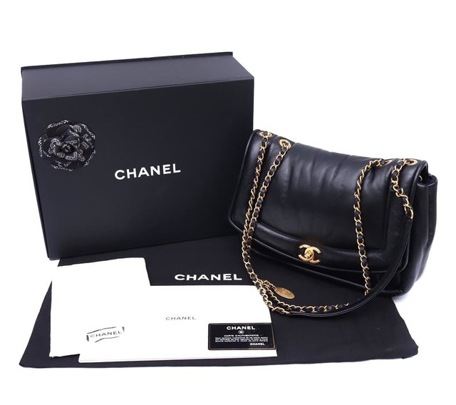 Bolsa Chanel Original Black Puffy Lambskin Flap