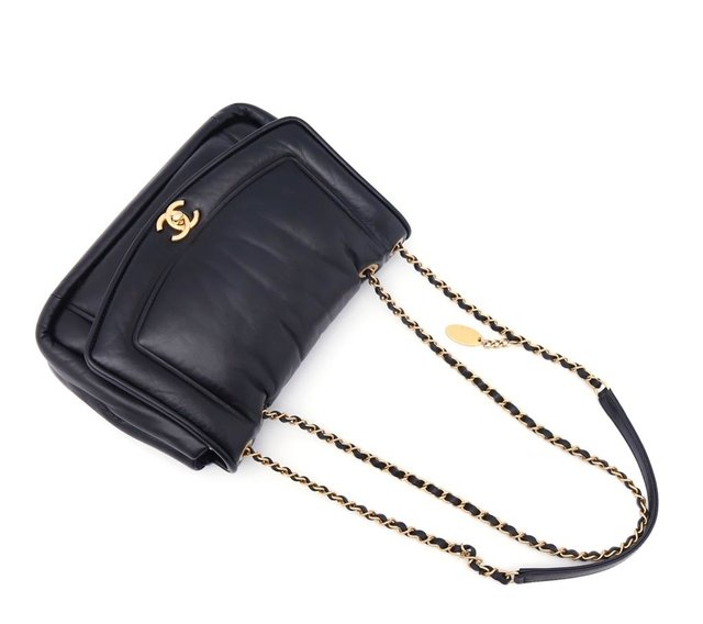 Bolsa Chanel Original Black Puffy Lambskin Flap na internet